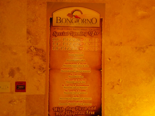 Bongiorno Pizza on Brentwood High street