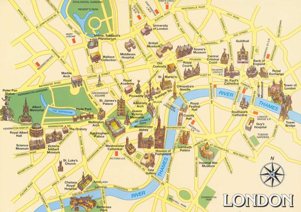 Map Around London.London Attractions And Nearest Underground Stations
