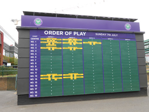 Order of play for Wimbledon 2015