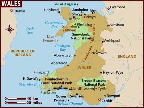 Detailed Map of Wales Places to see