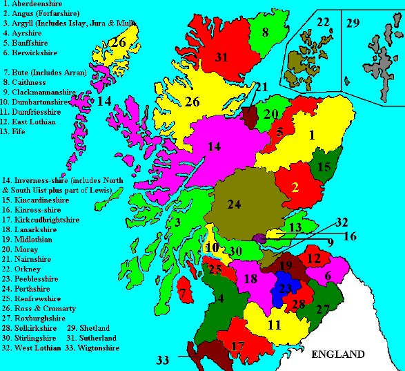 Maps of Regions of Scotland