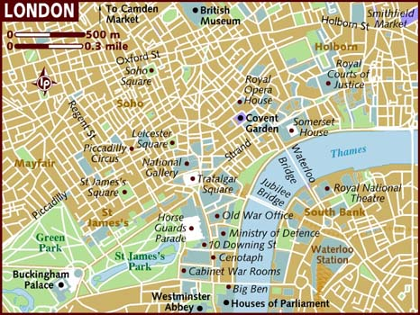 map on central london tourist attractions