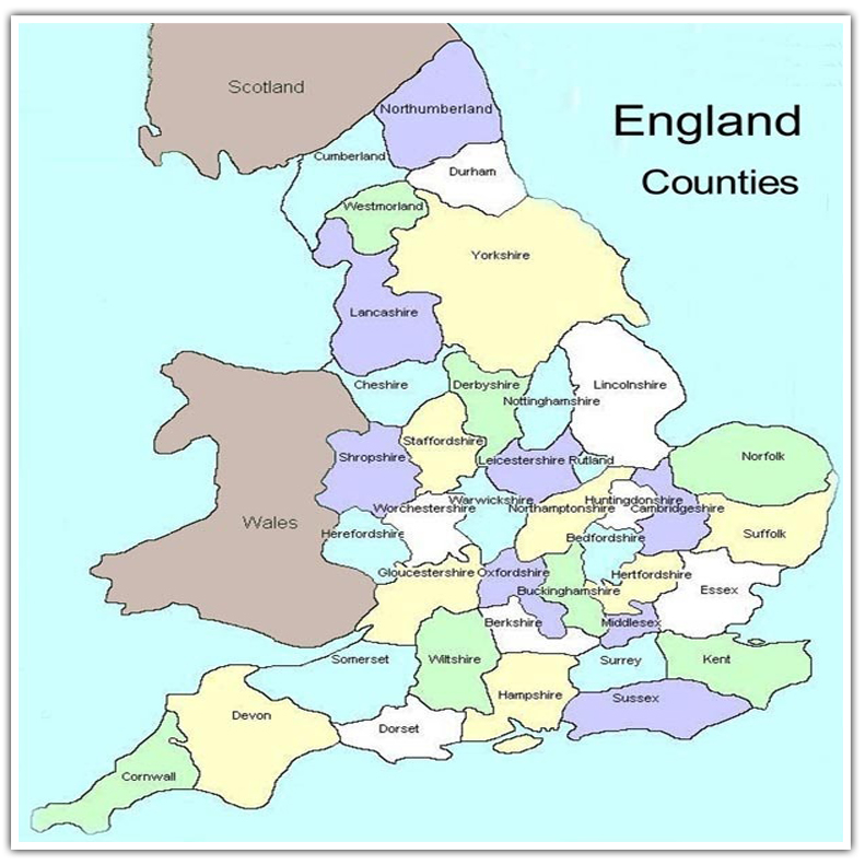 county map with england, scotland and wales