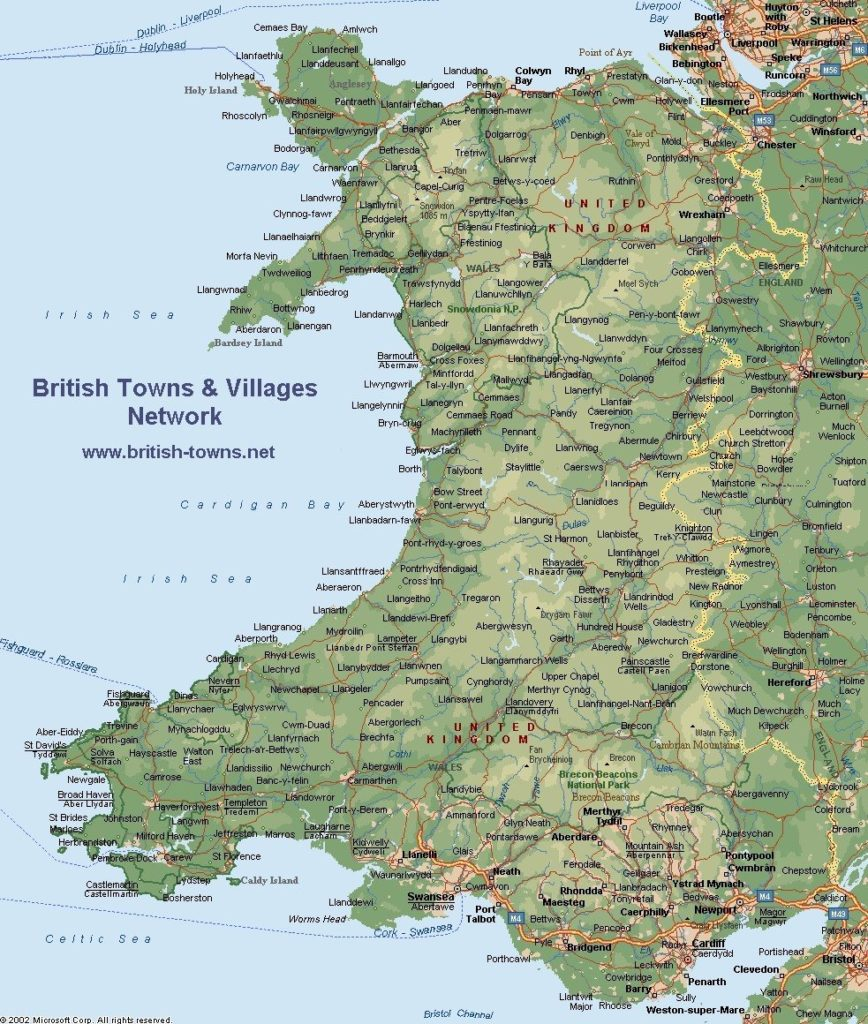 Detailed Map of Wales